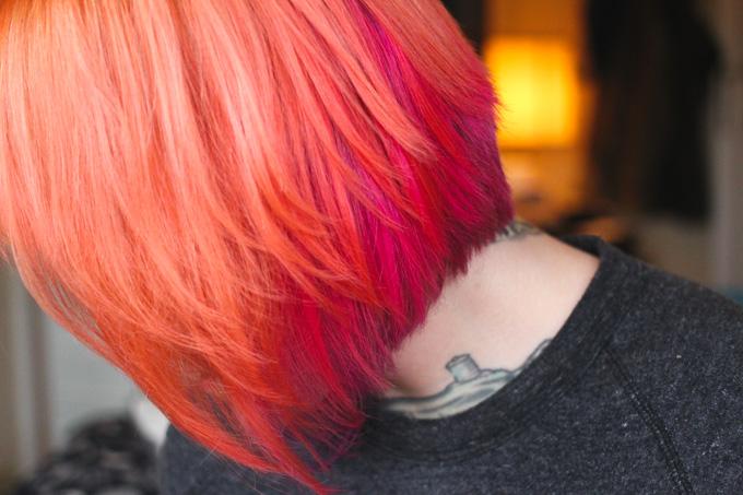 orange, pink, purple hair, dainty squid