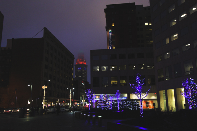 Cleveland, christmas lights, city at night
