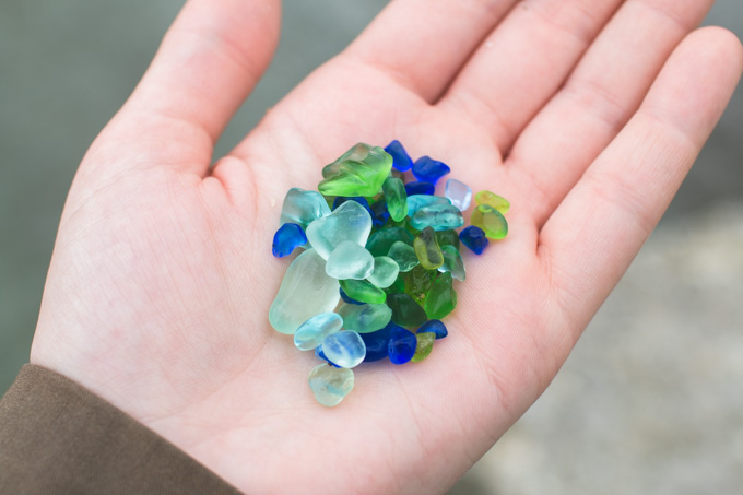 blue beach glass, green beach glass, lake erie, beach glass