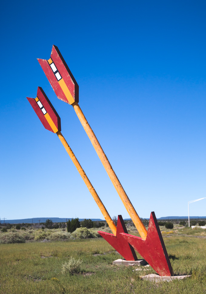 abandoned, giant arrows, desert