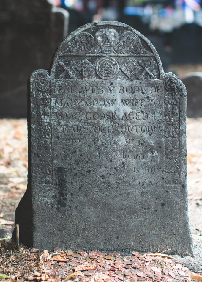mary goose, headstone, skull, Granary Burying Ground