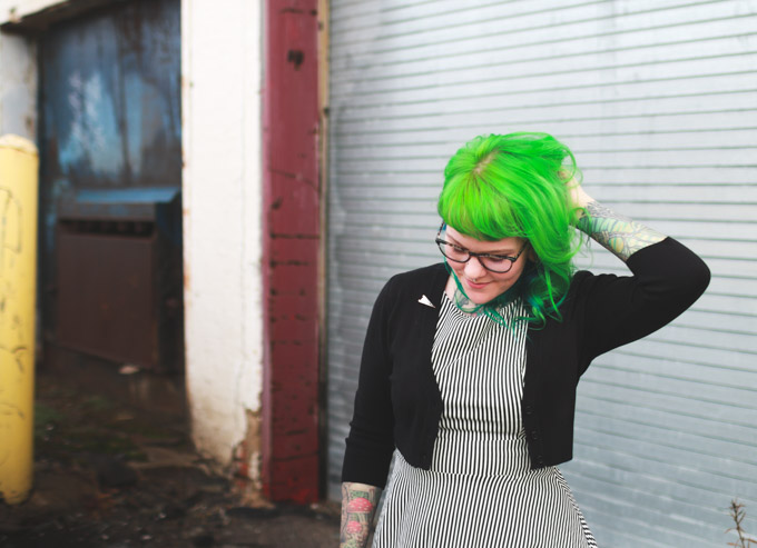 cleveland fashion blog, green hair, striped dress