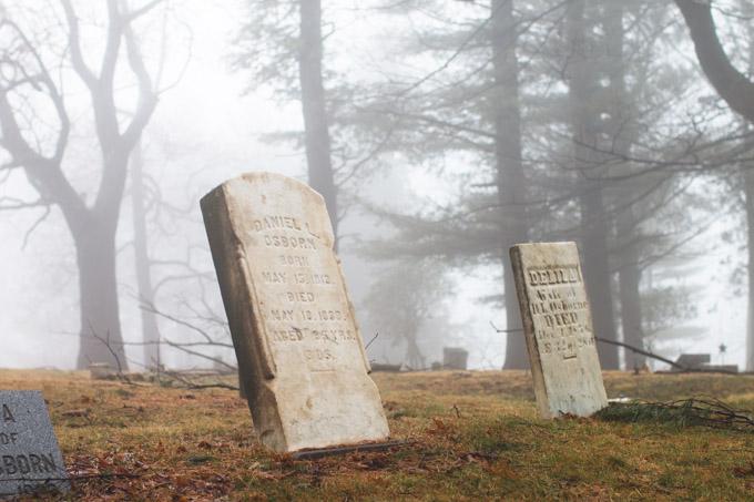 headstone, spooky cemetery, fog