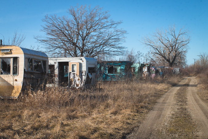 abandoned, trailers, ohio, colorful, decay