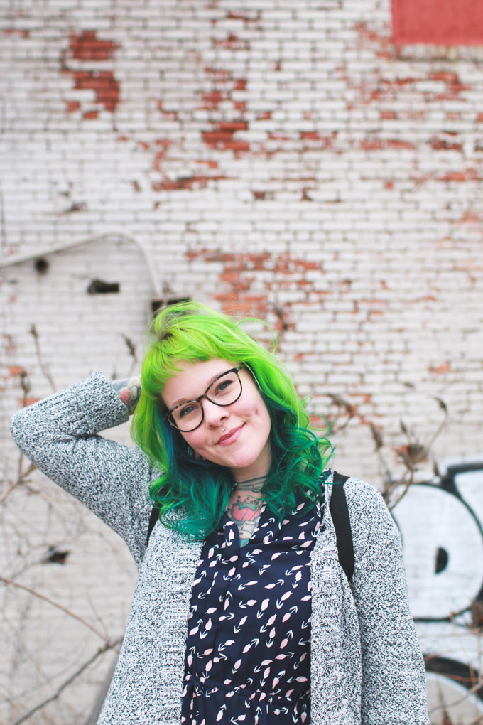warby parker, louise, glasses, green hair, dainty squid